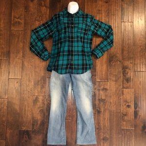 Quicksilver Teal Green Plaid Shirt